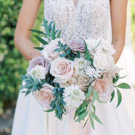 Organic Ivory and Mauve California Wedding