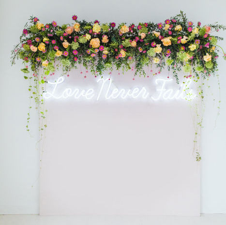Pops of Pink Floral Backdrop from Wedding Chicks