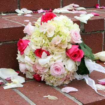 Roses and Hydrangeas Wedding Pack up close
