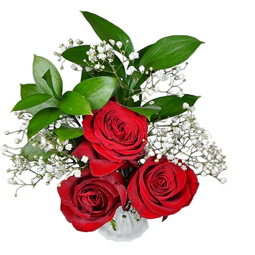 Valentine's Day Three Red Roses Bouquet for Fundraising