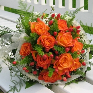 Bright Orange Rose Wedding Pack up close