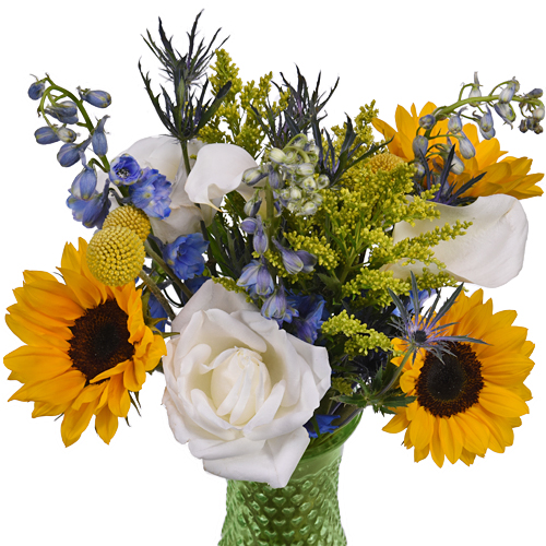 Blue Sunny Sky Wedding Flower Arrangement
