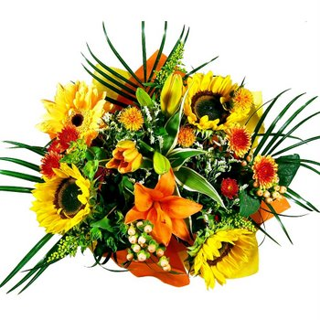 Bridal Centerpieces Fresh Yellow and Orange Flowers