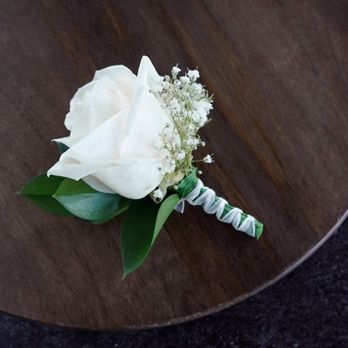 Classic Ivory Rose Boutonnieres