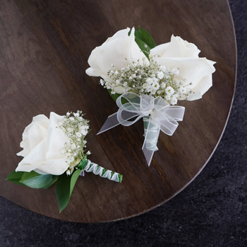 Classic Ivory Rose Boutonniere and Corsage Pack