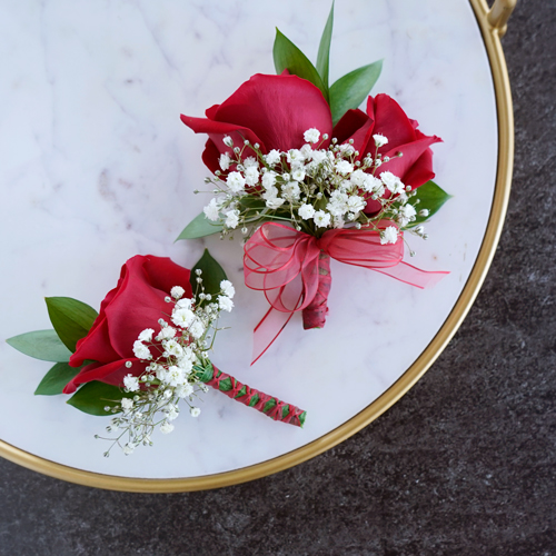 Classic Red Rose Boutonniere and Corsage Pack