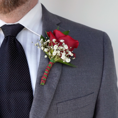 Classic Rose Boutonniere and Corsage Wedding Package