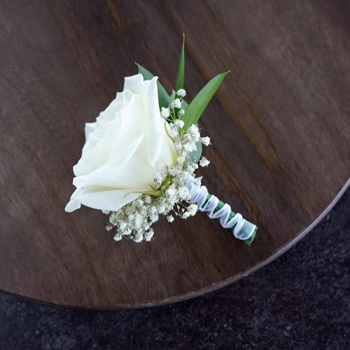 Classic White Rose Boutonnieres