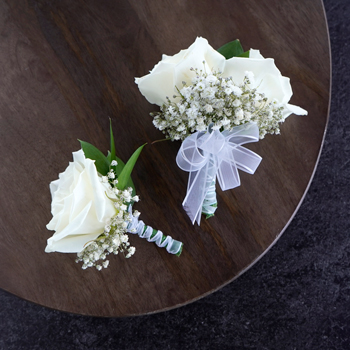 Classic White Rose Boutonniere and Corsage Pack