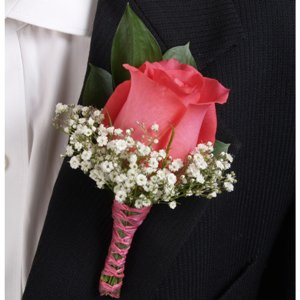 Classic Rose Dark Pink and Orange Boutonniere and Corsage Wedding Package