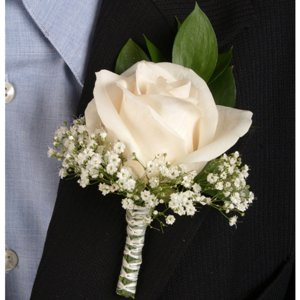 Classic Rose Ivory Boutonniere and Corsage Wedding Package