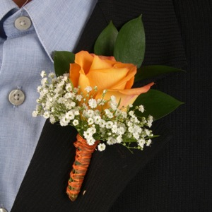 Classic Rose Orange Boutonniere and Corsage Wedding Package