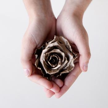 Preserved Dark Gold Rose