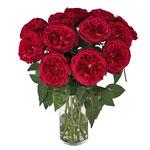 red bouquet of david austin garden cherry roses in a vase