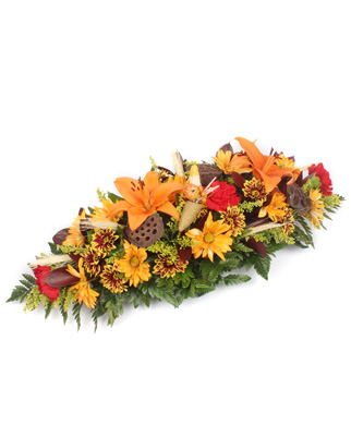 Thanksgiving Cornucopia Table Centerpiece with Lilies and Daisies