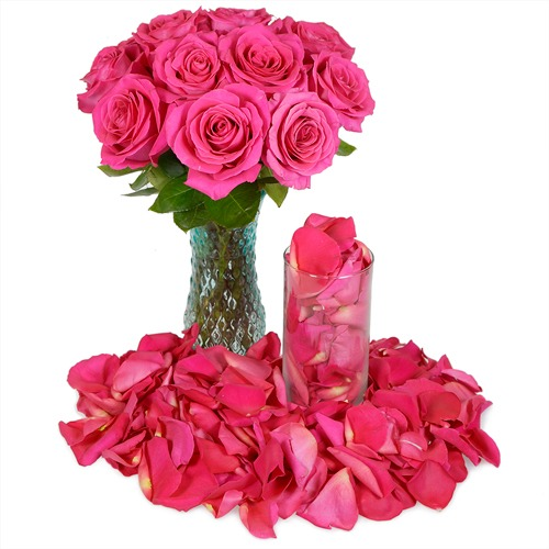 Valentine's Romantic Roses and Petals Combo