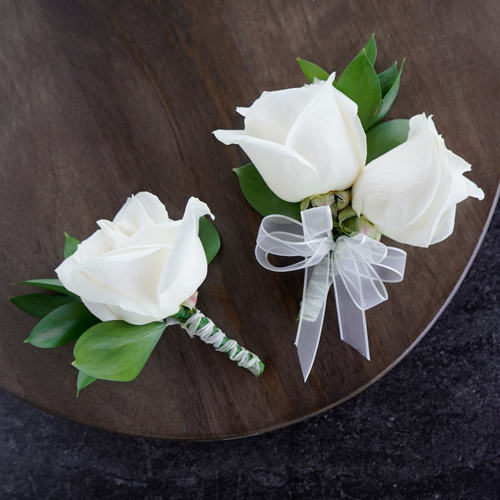 Modern Ivory Rose Boutonniere and Corsage Pack