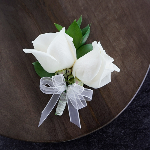 Modern Ivory Rose Corsages