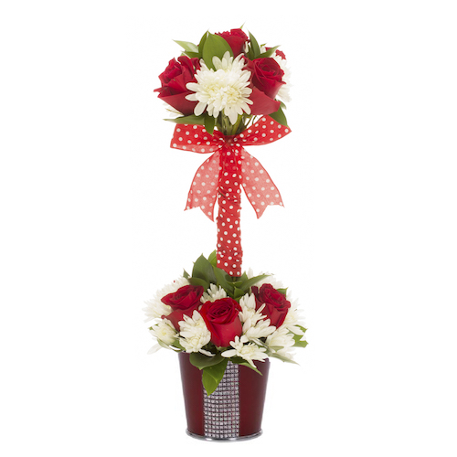 Love Is Sweet Rose and Pompon Valentines Arrangement