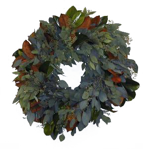 Magnolia, Seeded Eucalyptus and Bay Leaf Wreaths