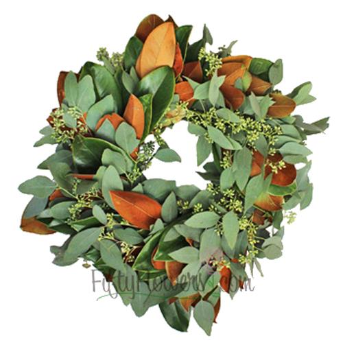Magnolia and Seeded Eucalyptus Wreaths