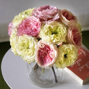 Beautiful pink and green mayra rose morning tea bouquet