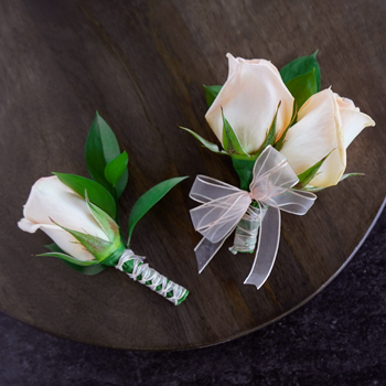 Modern Peach Rose Boutonniere and Corsage Pack