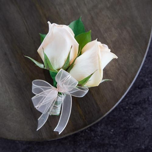 Modern Peach Rose Corsages