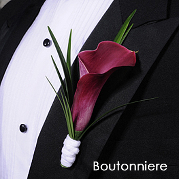 Mini Calla Lily Plum Boutonniere and Corsage Pack