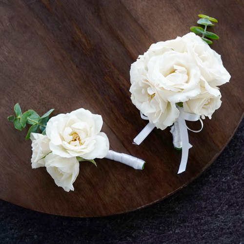 Ivory Spray Rose Boutonniere and Corsage Pack