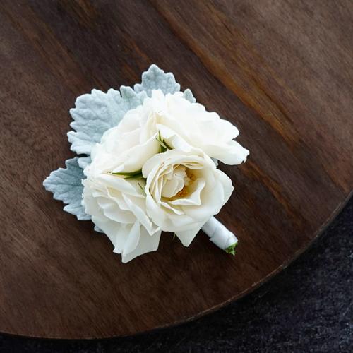 Vintage White Spray Rose Boutonnieres