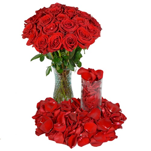Valentine's Passion Red Roses and Petals Combo
