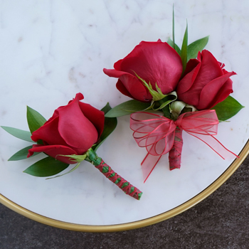Modern Red Rose Boutonniere and Corsage Pack