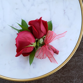 Modern Red Rose Corsages