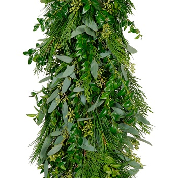 Seeded Eucalyptus, Leyland Cedar, White Pine and Boxwood Garland