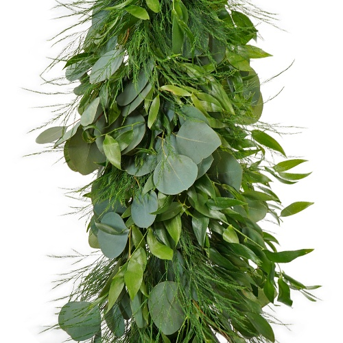 Silver Dollar Eucalyptus, Italian Ruscus and Tree Fern Garland