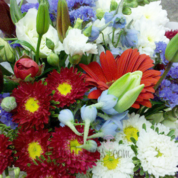 Red, White, and Blue Independence Flower Bouquet