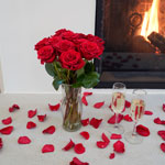 Valentine's Passion Red Rose and Petals DIY Flower Kit In a Vase