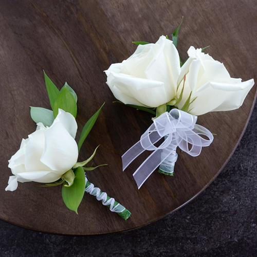 Modern White Rose Boutonniere and Corsage Pack
