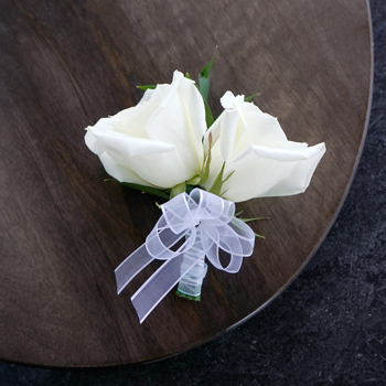 Modern White Rose Corsages
