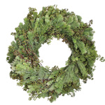 Fresh Woolly Bush and Leafless Seeded Eucalyptus Wreaths