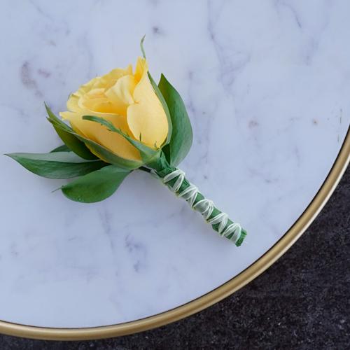 Modern Yellow Rose Boutonnieres
