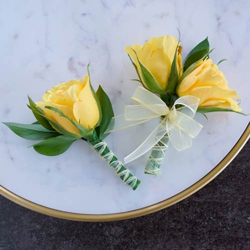 Modern Yellow Rose Boutonniere and Corsage Pack