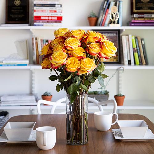 Fresh European Cut Bicolor Yellow Red Roses