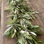 Bay Leaves Rosemary olive fresh garlands close up