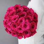 The Ecuadorian hot pink roses are fresh and bright roses