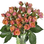 Golden Peach Petite Wholesale Roses In a vase