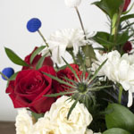 Red white and blue bouquet DIY wedding flowers