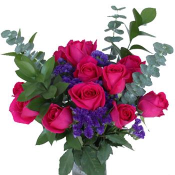 Dozen Pink Rose Centerpieces