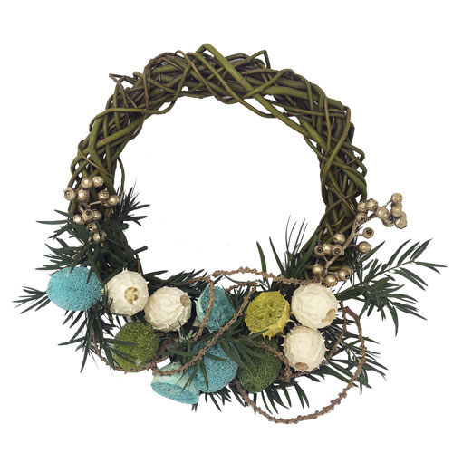 Tranquil Turquoise Dried Wreath